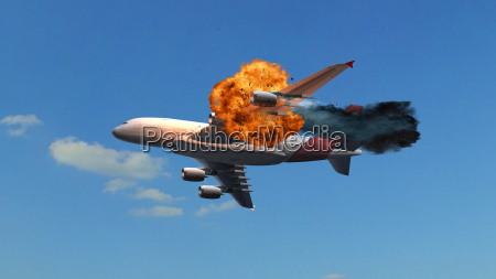 airliner with an explosion in the