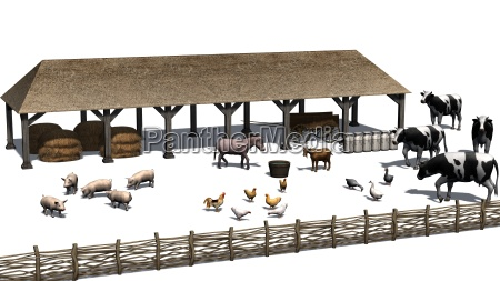 small farm with animals on a