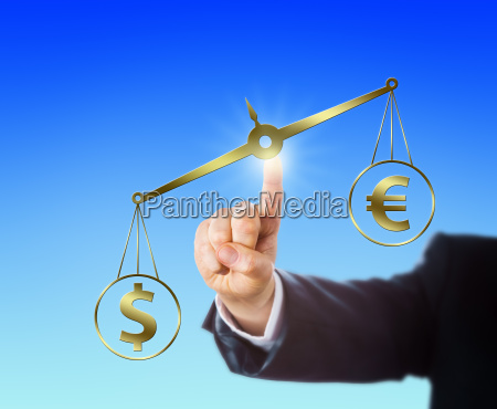dollar outweighing the euro on a