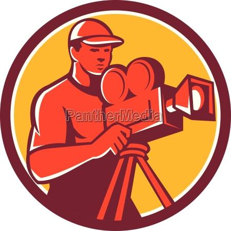 cameraman vintage film movie camera circle