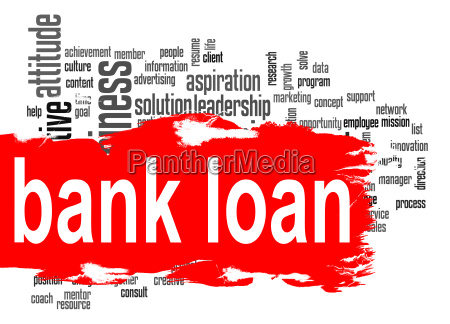 bank loan word cloud with red