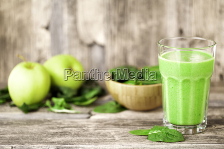 green smoothie with fruits and vegetables