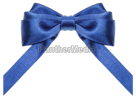 symmetric blue ribbon bow with vertically