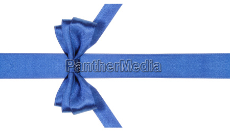 symmetric blue bow with vertically cut