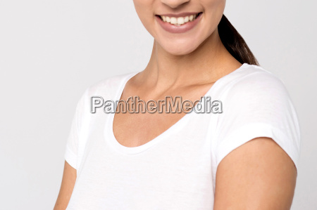half cropped face of woman