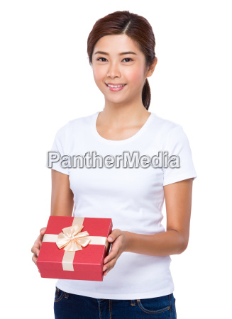 asian woman hold with red giftbox