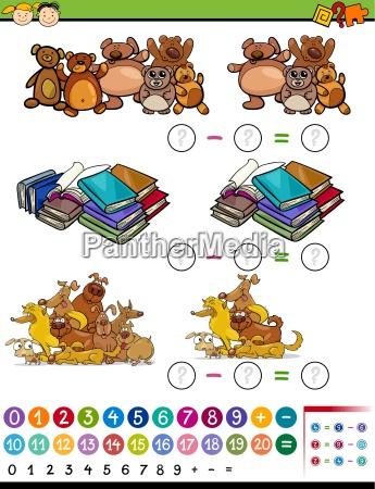 substraction game cartoon illustration