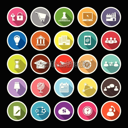 business connection flat icons with long