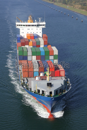 container ship on the kiel canal