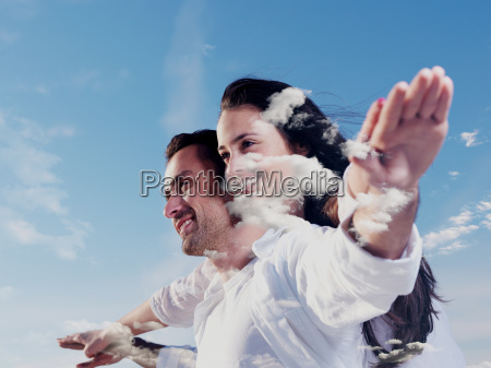 double exposure of young couple