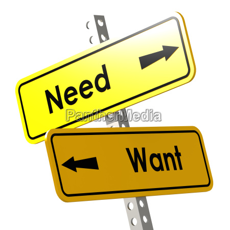 need and want with yellow road