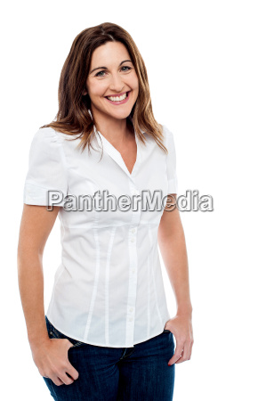 smiling woman posing in style