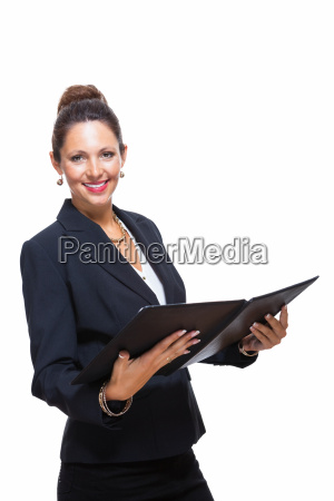 isolated businesswoman in portrait in hand