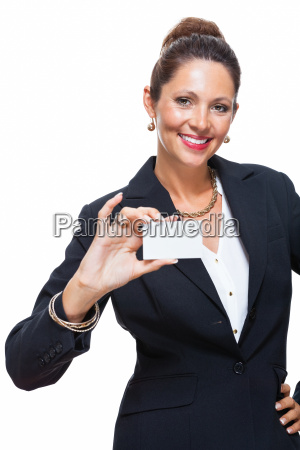 young attractive business woman hands over