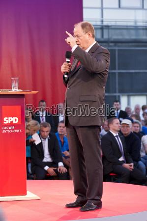 chancellor candidate peer steinbrueck at an