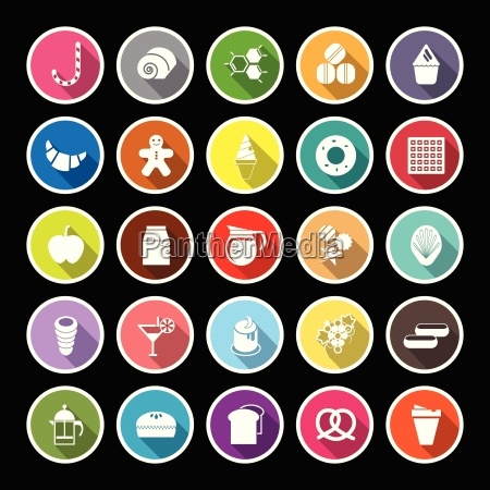 sweet food flat icons with long