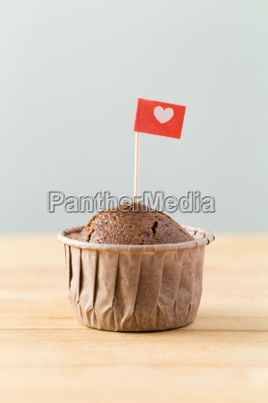 flag on muffin with heart shape