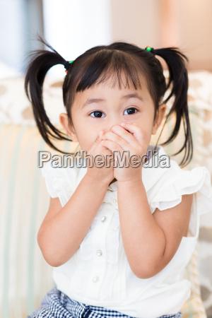 little girl feeling excited