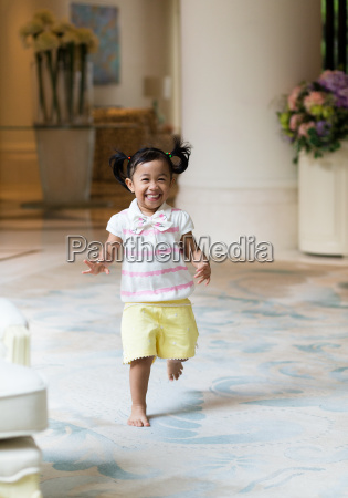 excited girl running