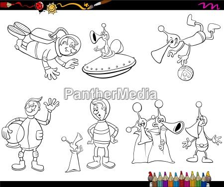 aliens cartoon coloring page