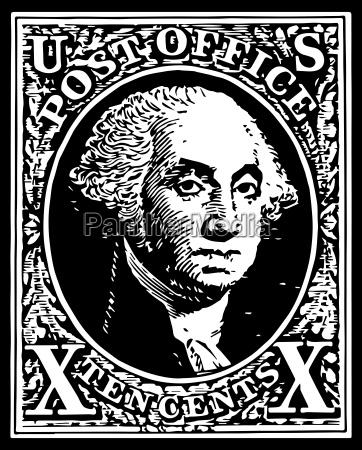 black washington 10 cent stamp