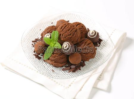 chocolate ice cream and truffles