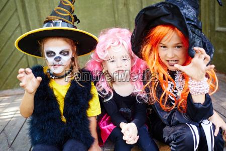 group of halloween girls