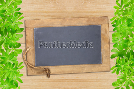 slate board framed in front of