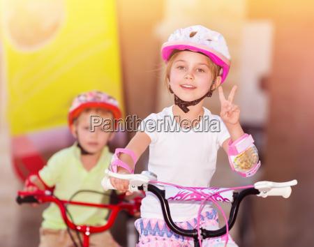 happy children on bicycles