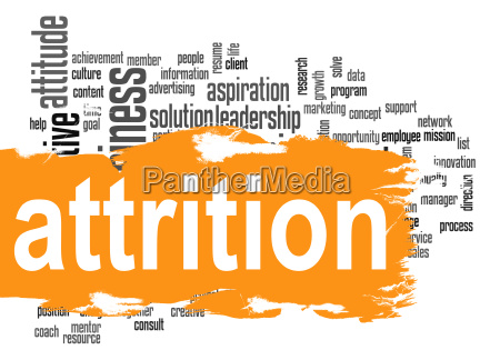 attrition word cloud with orange banner