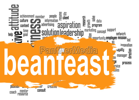beanfeast word cloud with orange banner