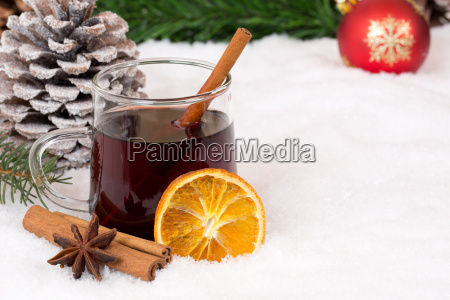 mulled wine at christmas in winter