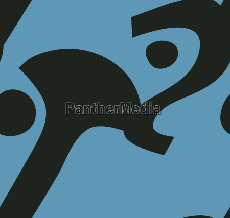 abstract face in blue pattern