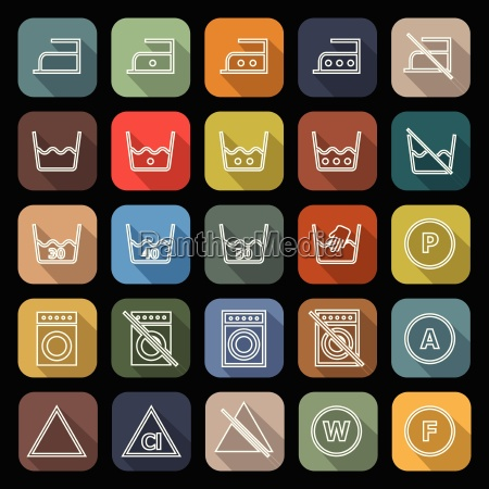laundry line flat icons with long