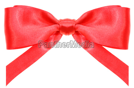 symmetric red ribbon bow with vertically