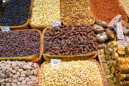 various nuts and dried fruits in