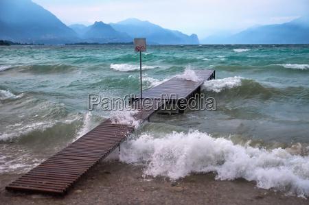 storm and waves on natural lake