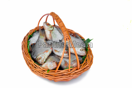 wattled basket with hooked fish on