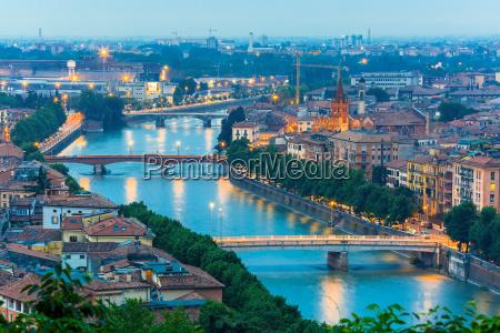 river adige and bridges in verona