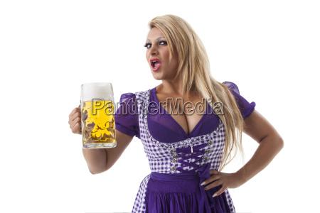 bavarian woman in a dirndl on
