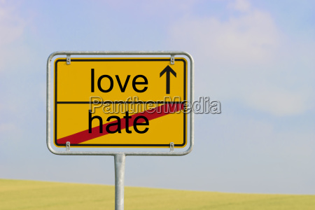 sign hate love