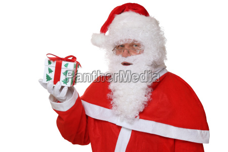 santa claus portrait hold gift at