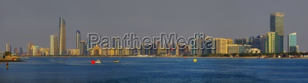 panoramic skyline of abu dhabi arab