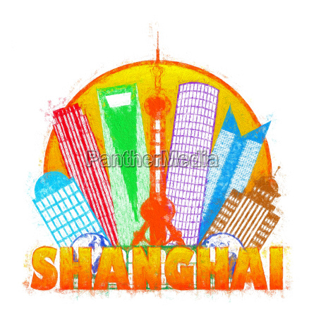 shanghai city skyline circle impressionist illustration