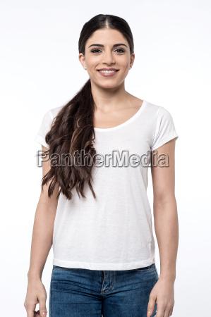 pretty woman posing over white