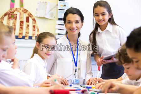 teacher happy at school