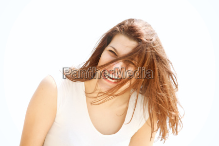 portrait happy woman resting at the