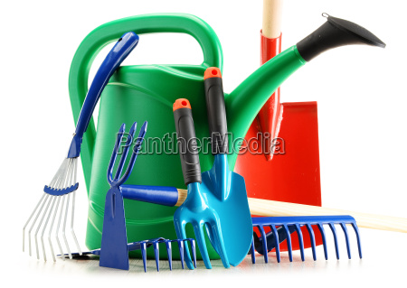 watering can and garden tools isolated