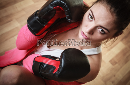 sports boxer woman in black boxing
