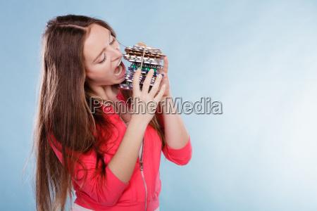 woman taking pills tablets eating drug